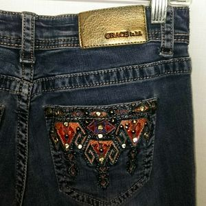 Grace LA Embellished Embroidered Jeans Southwest